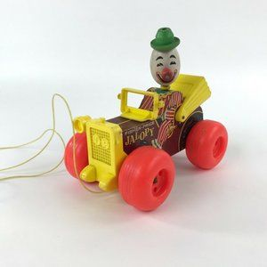 Vintage Fisher Price Jalopy Wood Pull Toy